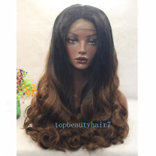 Black and Brown Ombre  Lace Front Wig Synthetic Hair Long Wavy Wigs