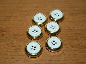 #6 Vintage, White and Gold, Flat, Craft, Sewing, Buttons, x6