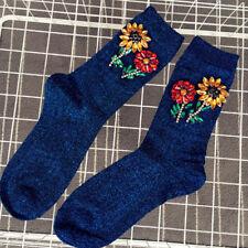 Women Sequins Rhinestone Sunflower Floral Glitter Winter Autumn Casual Socks