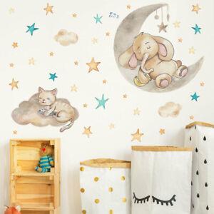 Cartoon Elephant Stars Vinyl Wall Decal Nursery Baby Room Decor Art Sticker Gift