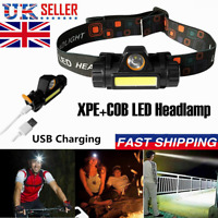 Super Bright Waterproof Head Torch Headlight LED USB Rechargeable Headlamp UK