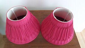 Lamp shades Laura Ashley Cerise/deep pink silk pleat pair of
