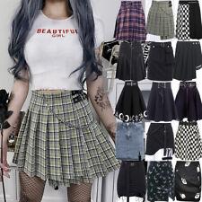 Women A-line Skirts Gothic Vintage Mini Skirt Streetwear Harajuku Pleated Skirts