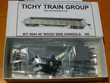 Tichy Train Group HO #4040 Early 40' Steel Flat Wood Gondola Sides undecorated