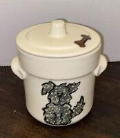 "Vintage Three Rivers Pottery Dog Treat Cookie Jar With Lid 5"""