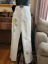 Cambio floral print Wide Leg ivory Pants 40 10