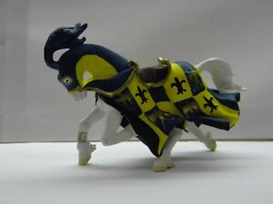 Horse Figure Medieval Warrior Plastic Papo Yellow Blue Le Fleur Armour 5 inches