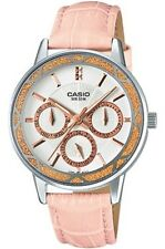 CASIO WHITE DIAL DAY & DATE PINK LEATHER STRAP LADIES WATCH LTP-2087L-4AV NEW