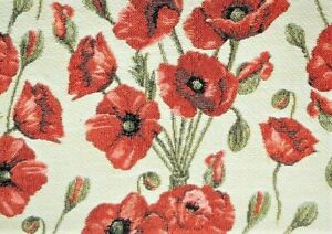 "Signare Tapestry Pillow Cover Poppy 17"" Square Red New!"