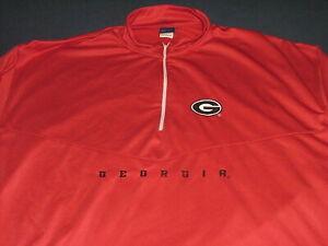 Men's OVB Big & Tall Georgia Bulldogs 1/2 Zip Long Sleeve Red Sweatshirt 4XL