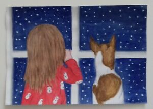 Jack Russell and girl Christmas cards pack of 5 by Sarah Sample Art