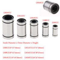 2/5Pz Cuscinetto Lineare LM6UU~LM20UU Linear Bearing per 3D Stampante