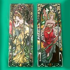 Vintage Hand Painted Art Nouveau Ceramic Tiles in Style of Alphonse Mucha 15 7/8