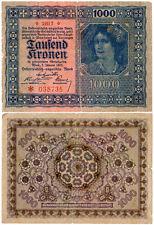 Austria 1000 Kronen P#78(1) (1922) Oesterreichisch-ungarische Bank Fine