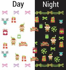 Nail Art Water Decals Glow in the Dark Merry Christmas Elf Presents Bows GID040