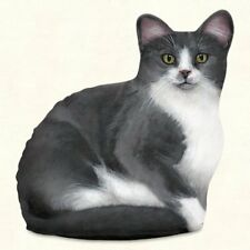 Gray & White Cat Shaped Doorstop or Pillow