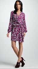 DIANE VON FURSTENBERG Purple Colorful Dora Lily Crepe Draped Silk Dress 6 NWOT