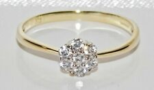 9ct Yellow Gold Daisy Cluster Engagement Ring size U - UK Hallmarked