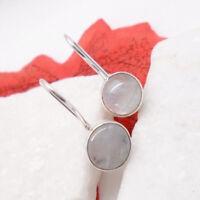 Mondstein blau weiß rund Design Ohrringe Ohrhänger 925 Sterling Silber neu