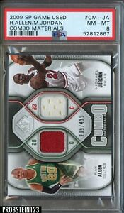 2009-10 SP Game Used Edition Ray Allen Michael Jordan Dual Jersey /499 PSA 8