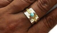 925 Sterling Silver Band & Turquoise stone Spinner Ring Handmade All size BU-320
