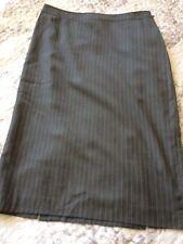 Jaeger Size 10 100% Wool Skirt Grey Stripe Light Weight Smart Business