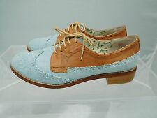 Women's BP Nordstrom Blue Denim Oxford Shoes Saddle Style Contrasting Size 9.5