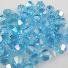 Jewelry making 100pcs 4mm #5301 colorful Bicone glass crystal beads Blue AB NEW