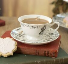 V&A ALICE in WONDERLAND Tea CUP and SAUCER SET Fine China Mug WHITE Gold Black