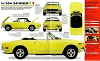 FIAT 124 Spider SPEC SHEET / BROCHURE / Pamphlet: 1973, 1974, 1975,...