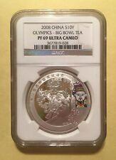2008 China 1oz Silver 10 Yuan Non Panda Beijing Olympics Big Bowl Tea NGC PF69
