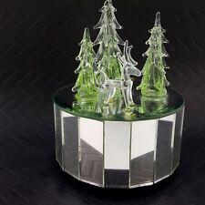 "Silvestri Glass & Mirror Spinning Music Box Plays O Tannebaum Trees Deer 5"" Vtg"