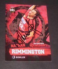 Nathan Rimmington (Australia) signed Melbourne Renegades  BBL Cricket Card + COA