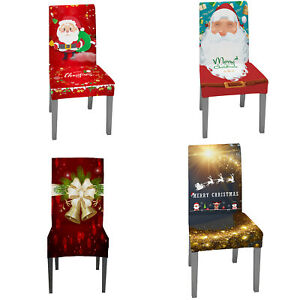 1/4Pcs Christmas Dining Chair Seat Slip Cover Banquet Party Home Decor Stretch