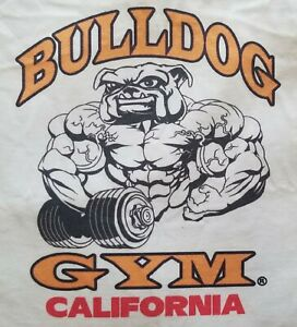 Bulldog Gym California Workout Muscle White / Vintage Gold / Black T-Shirt NEW