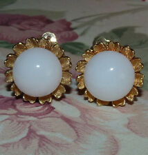 Pretty CINER Gold Tone Frosted White Glass Button Clip-On Earrings  AA13