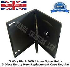 200 x 3 VIE 14 mm DVD Nero Spina Dorsale contiene 3 DISCHI VUOTI NUOVI sostituzione caso normale