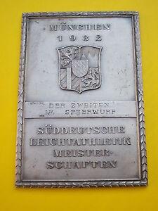 Plakette MÜNCHEN 1932 Süddeutsche Leichtathletik Meisterschaften 2. Platz