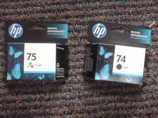SET 2 GENUINE HP 74 75 CARTRIDGES D4260 J6450 C4240 C4240 FACTORY SEALED