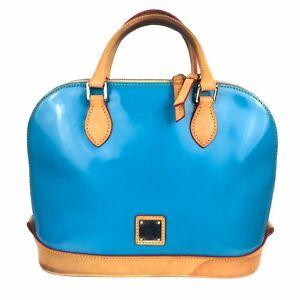 Dooney & Bourke Zip Zip Satchel Blue Patent Leather Handbag