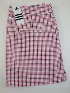 NWT $75 ADIDAS Size 8 Women's Pink Gingham Performance CLIMALITE Golf Skort