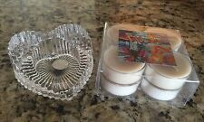 NEW Welcome Home Vanilla Bean Tea Lites and Crystal Heart Holder