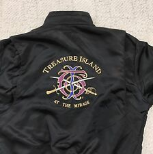 Vintage 90s Black Satin Bomber Jacket L M Treasure Island Mirage Las Vegas
