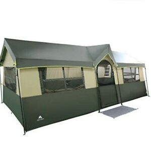 Ozark Trail 12 Person Cabin Tent - 2 Closets, Hanging Organizers, Rolling Duffle