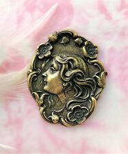 Stamping ~ Jewelry Lady Finding (C-102) Antique Brass Flower Girl Nymph Woman