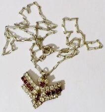 pendentif chaine bijou vintage couleur argent cristaux améthyste *4996