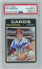 TED SIMMONS Signed 1971 Topps ROOKIE Card #117 - PSA Slabbed HOF Auto 10 #888742