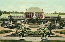 St Louis Missouri~Palmhouse~Henry Shaw's Garden~Statue~Folks on Paths~1910 PC