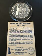 RARE Coeur D'Alene Mines Proof Coin Centennial 1 Troy Oz .999 Fine Silver Idaho
