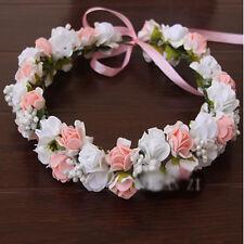Bridal Rose Flower Crown Headband Wedding Prom Beach Floral Garland Wreath